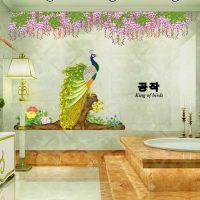 Decal dán tường Chim công dưới hoa