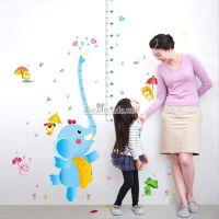 Decal dán tường Thước đo voi xanh và các bạn