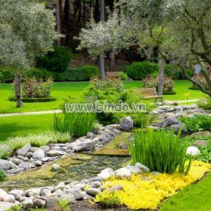 Tranh cảnh vườn với ao phong cách Châu Á