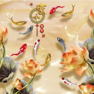 tranh ngoc cửu ngư và hoa sen