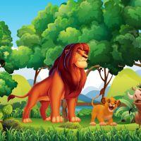 Decal dán tường Tranh 3D vua sư tử và những người bạn (Lion King) số 2