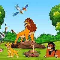 Decal dán tường Tranh 3D vua sư tử và những người bạn (Lion King) số 1