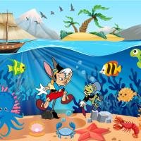 Tranh dán tường Pinocchio dưới đại dương