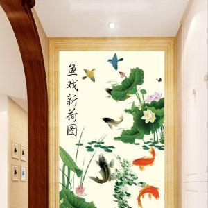 Tranh cữu ngư hoa sen và đôi chim