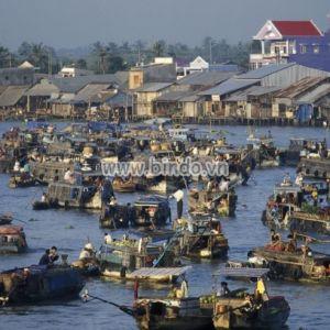 Tranh Chợ trên sông Mekong gần thành phố Cần Thơ ở ĐBSCL ,Việt Nam
