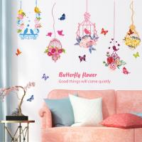 Decal dán tường Dây treo hoa chim và bướm