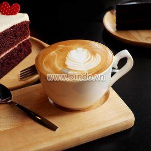 Tranh Cà phê nóng và bánh trên nền tối.