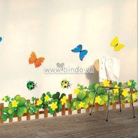 Decal dán tường Chân tường cỏ 3 lá hoa vàng 2