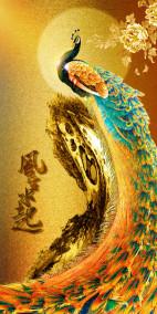 Tranh vẽ chim công vàng