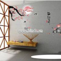 Decal dán tường Cành đào và hoa sen