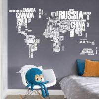 Decal dán tường Bản đồ thế giới (tên quốc gia 3)