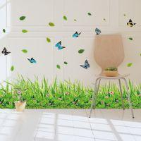 Decal dán tường Chân tường cỏ hoa
