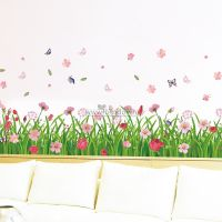 Decal dán tường Chân tường hoa cỏ sắc màu