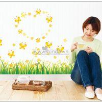 Decal dán tường Chân tường hoa cỏ vàng