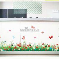 Decal dán tường Chân tường hoa cúc đủ màu 2