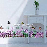Decal dán tường Chân tường hoa tím