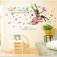 Decal dán tường Cô gái hoa