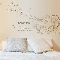 Decal dán tường Cô gái và hoa bồ công anh
