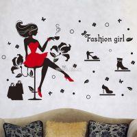 Decal dán tường Cô gái uống cà phê