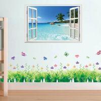 Decal dán tường COMBO Cửa sổ biển Zooyoo và Chân tường hoa giai nhân