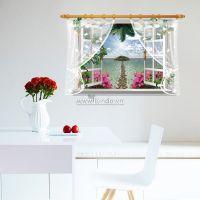 Decal dán tường Cửa sổ biển và hoa