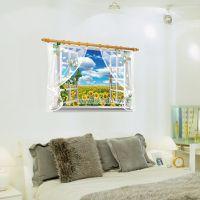Decal dán tường Cửa sổ hoa hướng dương