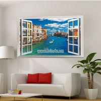 Decal dán tường Cửa sổ thành phố ven biển