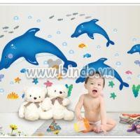 Decal dán tường Đàn cá heo xanh size to