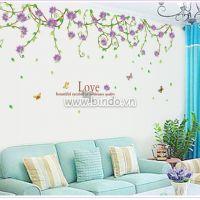 Decal dán tường Dây leo hoa tím