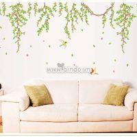 Decal dán tường Dây leo xanh hoa tím