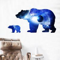 Decal dán tường Gấu xanh và địa cầu