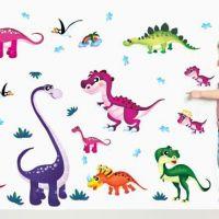Decal dán tường Gia đình khủng long