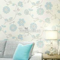 Decal dán tường Giấy dán tường 3d họa tiết hoa xanh