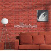 Decal dán tường Giấy decal cuộn gạch nâu đỏ 2