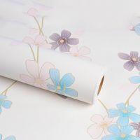 Decal dán tường Giấy decal cuộn hoa xanh-tím -hồng phấn