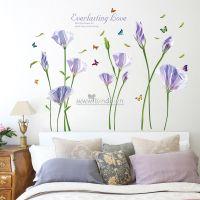 Decal dán tường Hoa anh thảo tím trắng