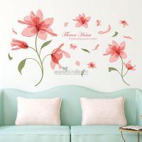 Decal dán tường Hoa búp hồng nhạt