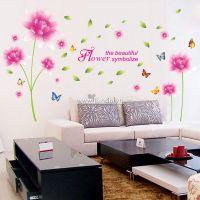 Decal dán tường Hoa sen cúc hồng