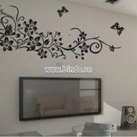 Decal dán tường Họa tiết hoa đen