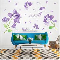 Decal dán tường Hoa cánh bướm tím