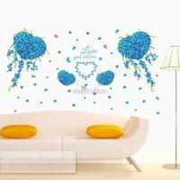 Decal dán tường Hoa trái tim xanh