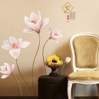 Decal dán tường Hoa trắng hồng
