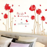 Decal dán tường Hoa và bướm đỏ