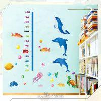 Decal dán tường Thước đo cá heo xanh