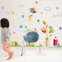 Decal dán tường Vườn thú bóng bay