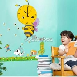 Decal dán tường Đồng hồ ong vàng