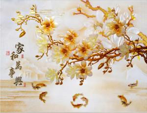 tranh ngoc hoa sứ và cá chép