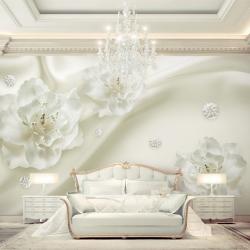 Tranh dán phòng khách hoa hồng trắng 3D