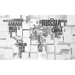 Tranh bản đồ thế giới trên nền lập phương