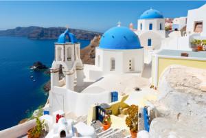 Tranh thành phố biển Santorini